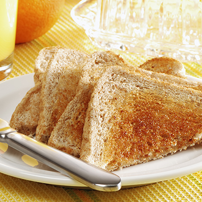 Toasts with butter and orange juice for breakfast