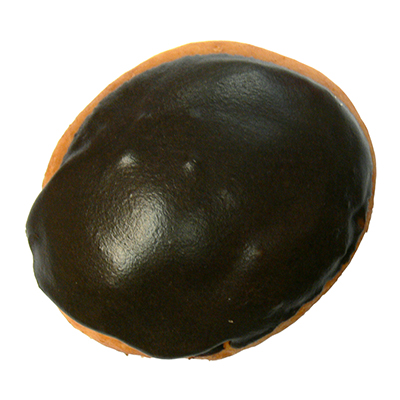 plain filled donut with chocolate icing and custard filling