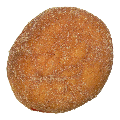 plain filled donut with cinnamon and sugar and jam filling