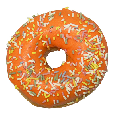plain ring donut with orange icing and sprinkles