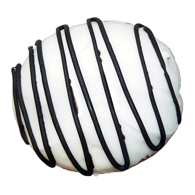 plain filled donut with vanilla icing and chocolate cream filling