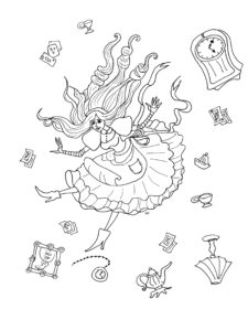Kids coloring page - Alice in wonderland