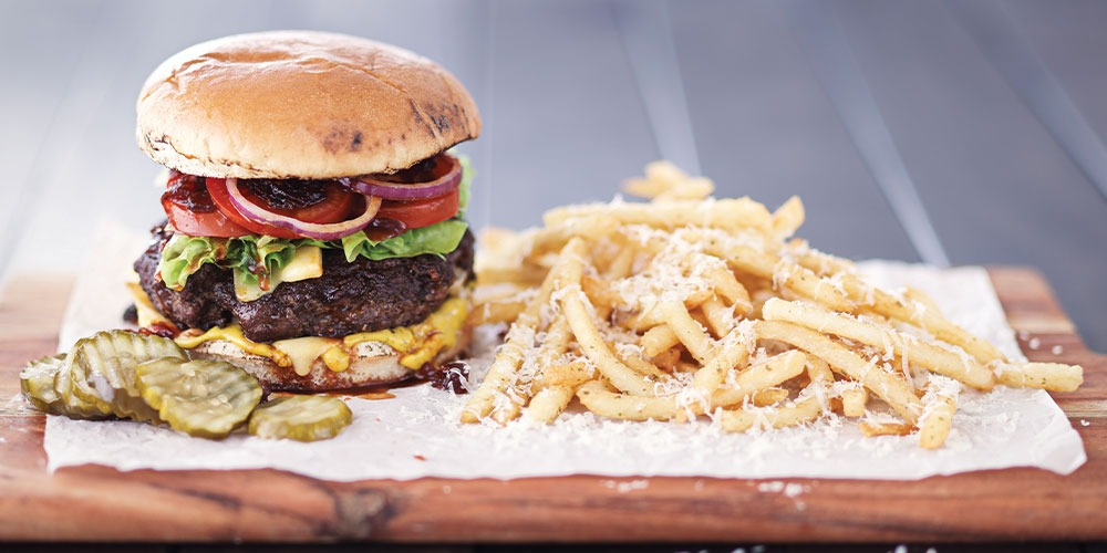 Smoked Cheddar Burger with Parmesan Fries